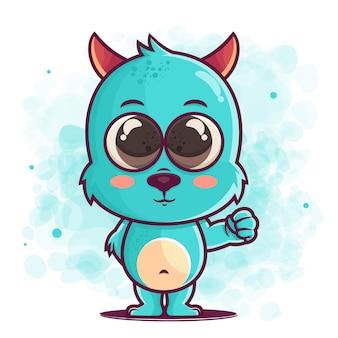 머천다이징을위한 귀여운 블루 몬스터 만화 그림