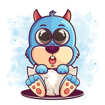 머천다이징 달걀 그림에 귀여운 파란색 괴물 만화