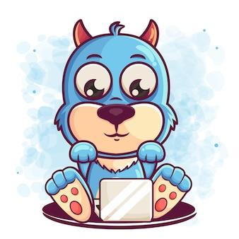 귀여운 파란 괴물 만화는 머천다이징을 위해 노트북을 운영합니다.