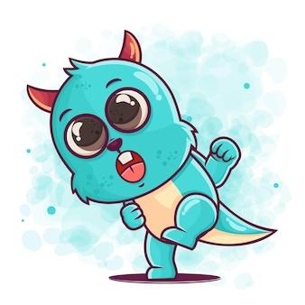 머천다이징을위한 귀여운 블루 몬스터 만화 펀치 그림