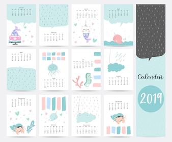 Милый синий месячный календарь