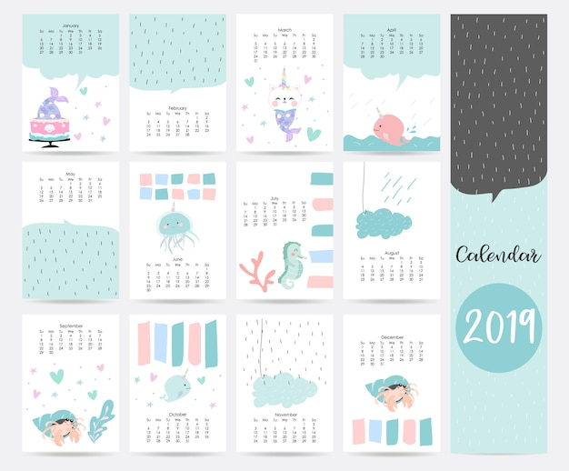 Cute blue monthly calendar