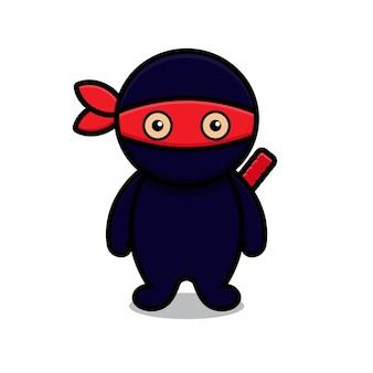 かわいい青い忍者のマスコットキャラクター。白い背景で隔離のデザイン。