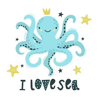 Cute blue octopus with golden starfish