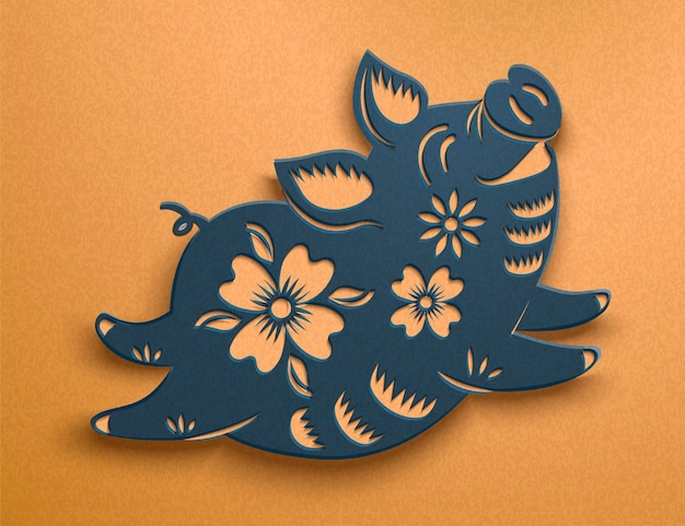 Cute blue paper art piggy with floral pattern on golden backdrop