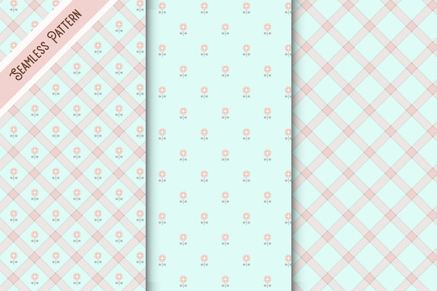Cute blue and pink checkered and floral seamless patterns set