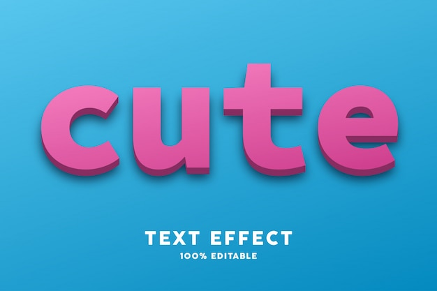 Cute blue pink text style effect