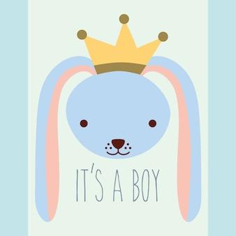 Милая голубая голова кролика с короной