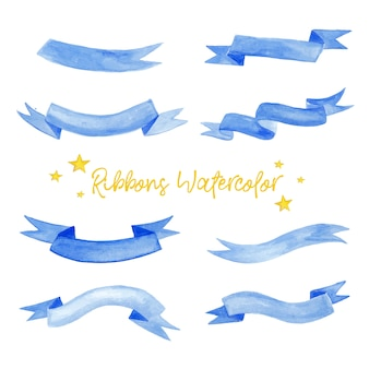 Cute blue ribbons in watercolor illustration