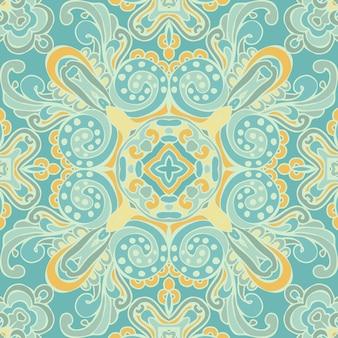 かわいい青のシームレスな抽象的なタイルパターンベクトル。ビクトリア朝の豪華なダマスク織のデザイン