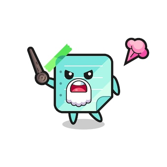 Cute blue sticky notes grandpa is getting angry , cute style design for t shirt, sticker, logo element