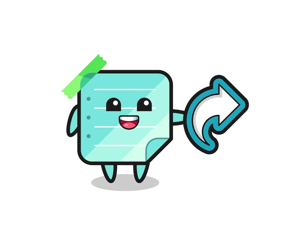 Cute blue sticky notes hold social media share symbol , cute style design for t shirt, sticker, logo element