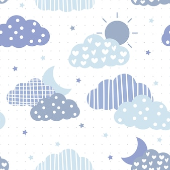 귀여운 블루 테마 구름과 하늘 만화 완벽 한 패턴