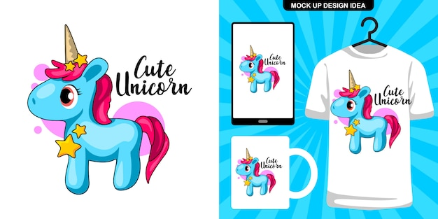 Cute blue unicorn illustration and merchandising