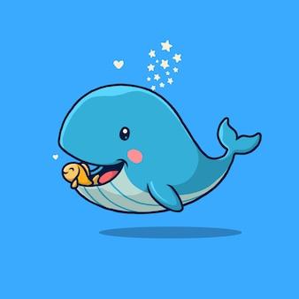귀여운 푸른 고래와 블루에 고립 된 작은 친구