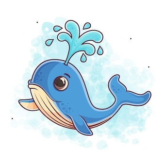 귀여운 푸른 고래 만화 그림