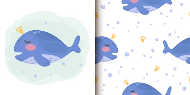 Cute blue whale illustration and seamless patten