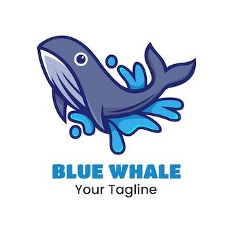 귀여운 푸른 고래 로고 디자인 벡터