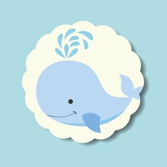 Cute blue whale splash water label