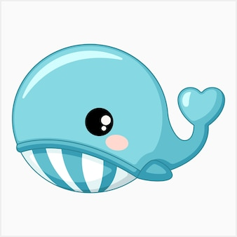 Cute blue whale vector illustration