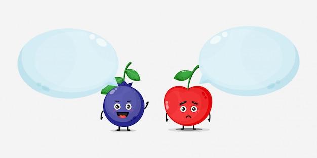 Милые ягоды черники и вишни со счастливыми и грустными выражениями