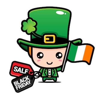 アイルランドの旗と黒い金曜日の割引のかわいいボー