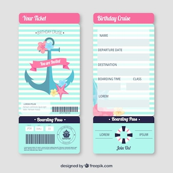 Cute boarding pass with nautical elements