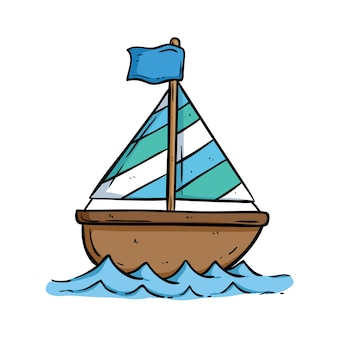 Cute boat on the sea with using doodle art