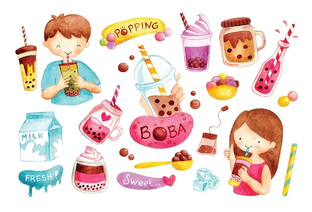 Cute boba drink in watercolor.