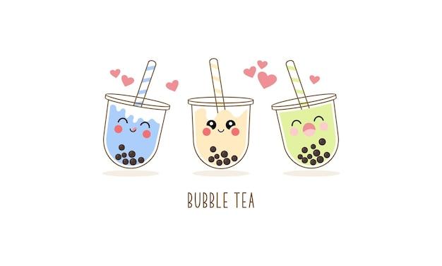 Набор персонажей мультфильма милый чай с молоком боба