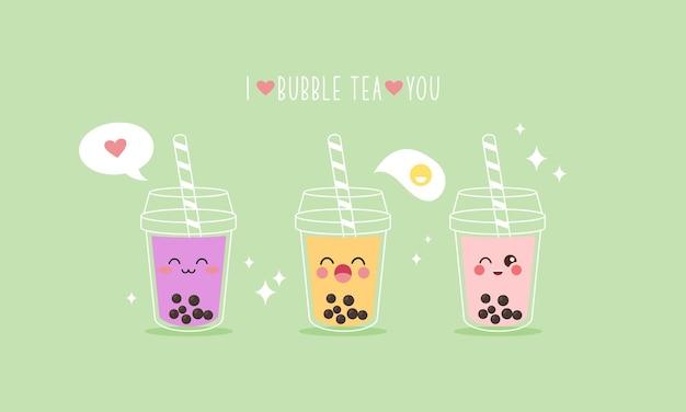 Cute boba milk tea cartoon characters set