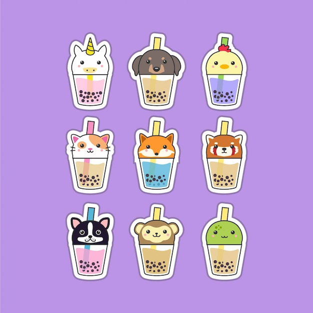 Cute boba tea animals set