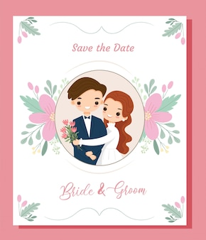 Cute bohemian cartoon couple wedding invitation card with flower border frame