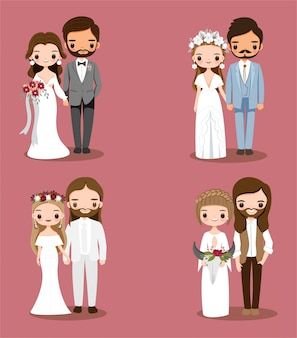 Cute bohemian couple cartoon character collection set