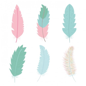 Cute bohemian feathers icon set