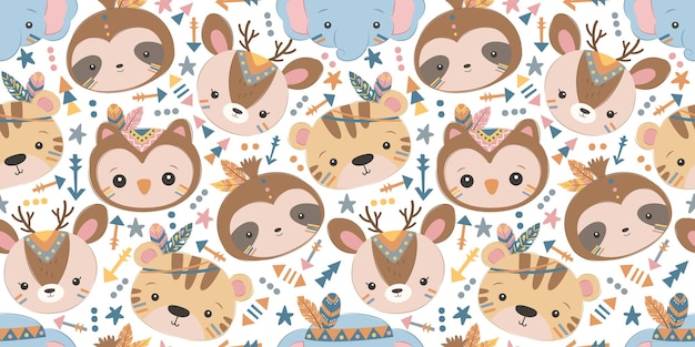 Cute boho animal seamless pattern for children fabric wallpaper and many more