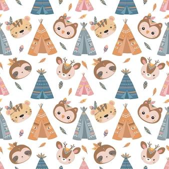 어린이 패브릭 벽지 등을 위한 귀여운 보헤미안 동물 원활한 패턴