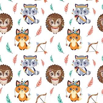 Cute boho animals and feathers seamless pattern