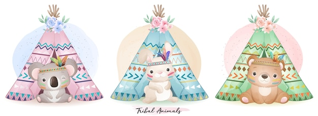 Cute boho animals set with watercolor illustration