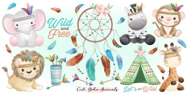 Симпатичные животные бохо с акварельной иллюстрацией