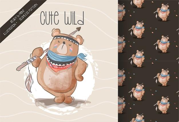 Cute boho bear seamless pattern