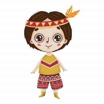 Cute Boho Boy With Big Eyes And Feathers In A Primitive Style On A
