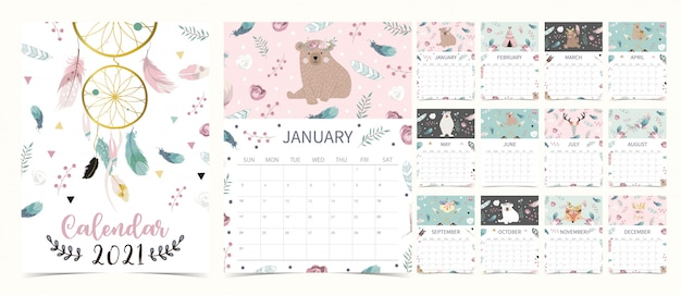 Cute boho calendar 2021 with bear, dreamcatcher, feather