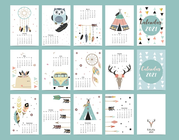 Cute boho calendar 2021 with feather,catcher,wild,wreath for children
