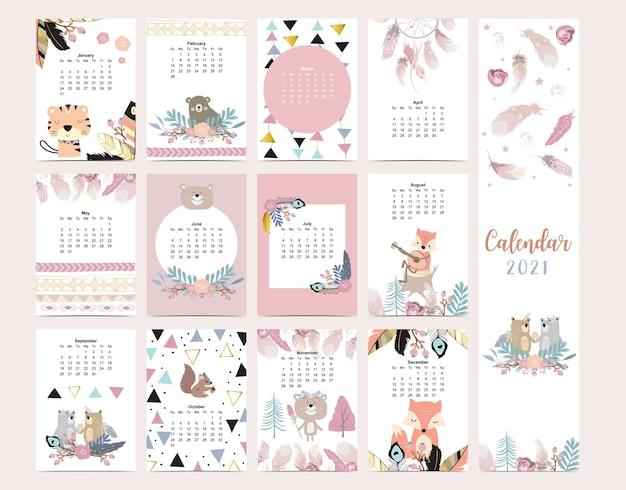 Cute boho calendar  with feather fox wild woodland for children kid baby