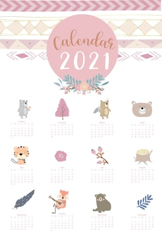 Cute boho calendar  with feather fox wild woodland for children kid