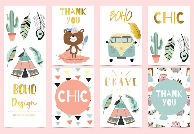 Cute boho card for kid
