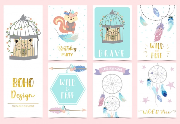 Cute boho card for kid