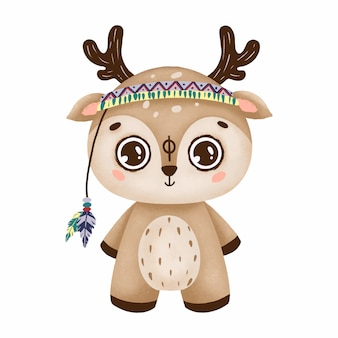 Cute boho deer with big eyes in a primitive style with feathers on a white background