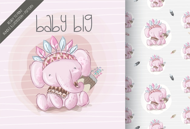 Cute boho elephant seamless pattern